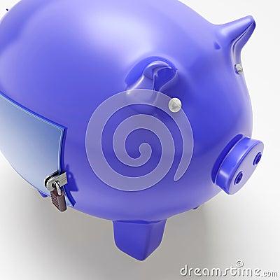 Piggybank med den stängda dörren som visar finansiell säkerhet