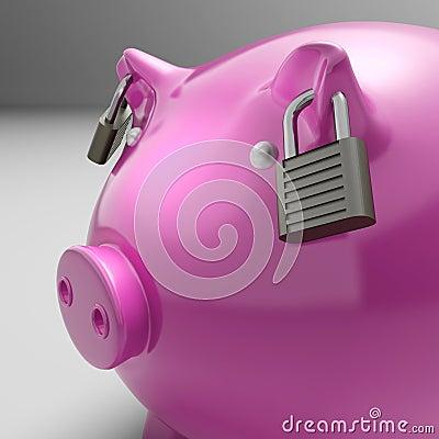 Piggybank med låst gå i ax Showsbesparingsäkerhet