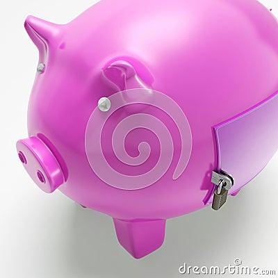 Piggybank med stängda dörrshower säkrade pengar