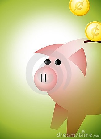 Piggybank met de Achtergrond van Muntstukken