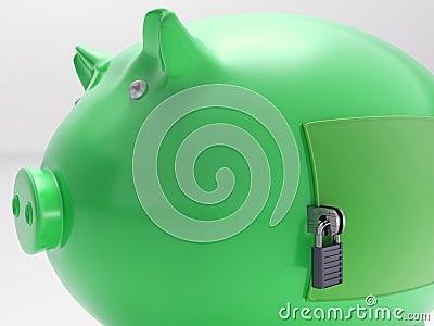 Piggybank mit geschlossener Tür zeigt Sicherheits-Wölbung