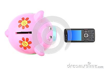 Piggybank and Mobile Phone