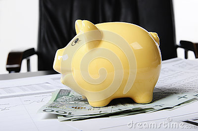 Piggybank and money