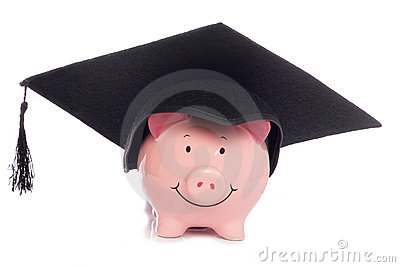 Piggybank with mortar board hat