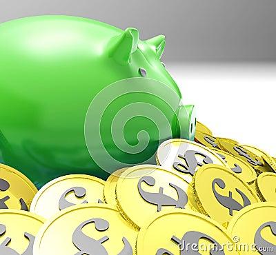 Piggybank in Muntstukken wordt omringd toont Europese Inkomens dat