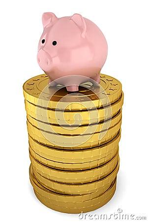 Piggybank na pilha de moedas douradas