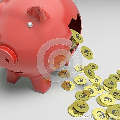Piggybank quebrado mostra a economia de Europa