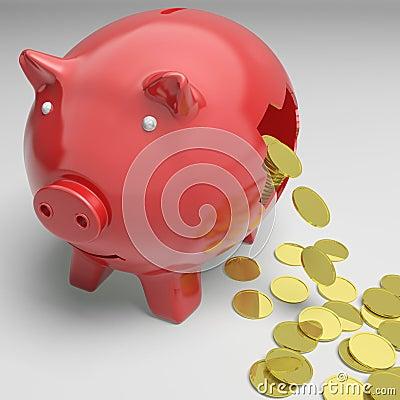 Piggybank quebrado muestra ahorros del efectivo