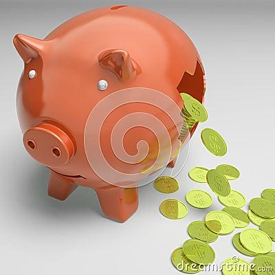 Piggybank quebrado que muestra beneficios ricos