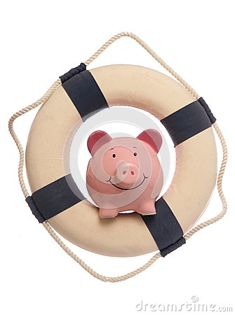 Piggybank with safety life ring