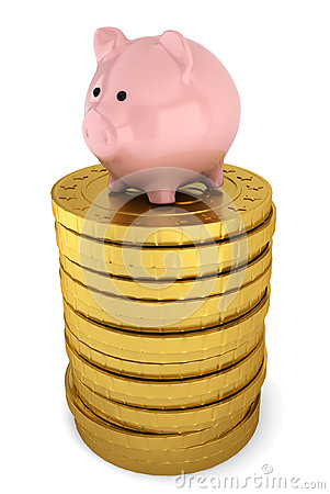 Piggybank on stack of golden coins
