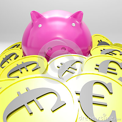 Piggybank Surrounded In Coins Showing European Incomes