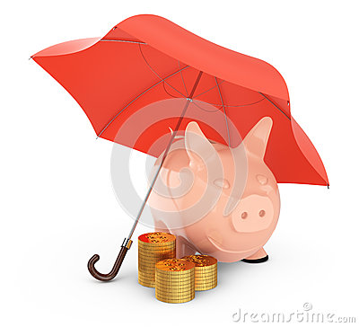 Piggybank und Goldmünzen unter Regenschirm