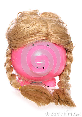 Piggybank wearing a girls wig