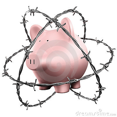 Piggybank wrapped in barbed wire