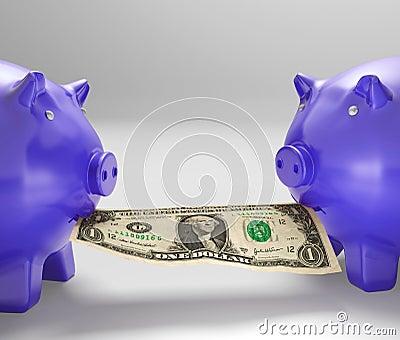 Piggybanks Eating Money Showing Financial Counselling