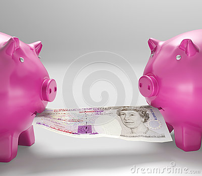Piggybanks Eating Money Shows Shared Savings