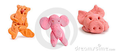 Piglet, elephant and cat
