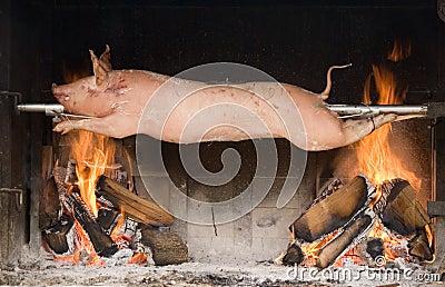 Piglet on a spit