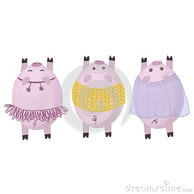 Pigs in Christmas costumes. Symbol of the new year 2019. Stock Photo