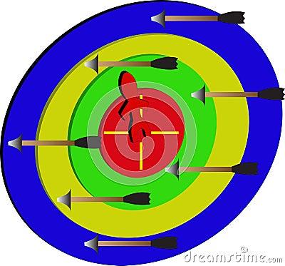 Pijltje/mensen target/a op het doel