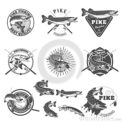 Free Pike Fishing Labels. Royalty Free Stock Photo - 75786875