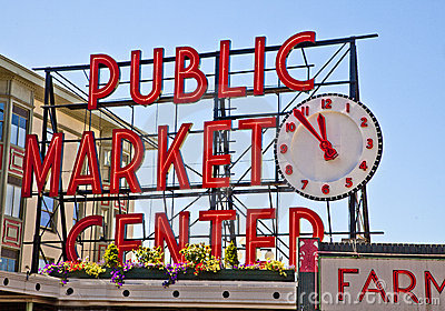 Pike Place Public Market-Sign Editorial Stock Photo
