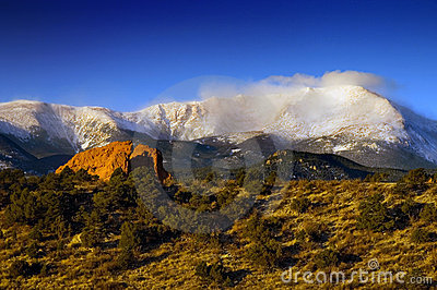 Pikes Peak in the snow