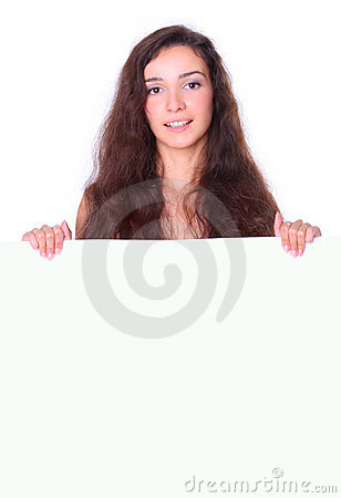 Pięknej deski pusta mienia biała kobieta