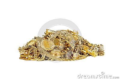 Pila de joyería del oro