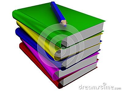 Pila de libros y de lápiz.