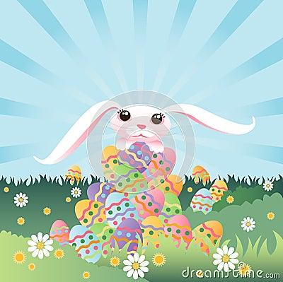 Pila del conejito de huevos