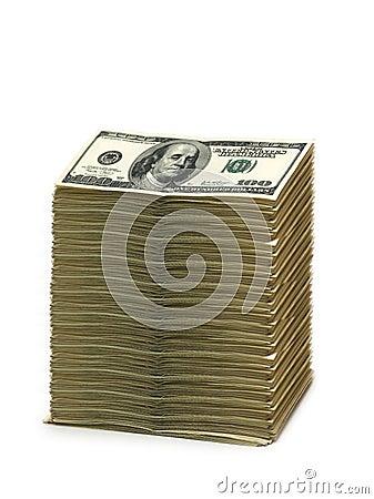 Pila di dollari americani isolati