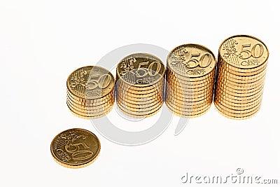 Pila di euro monete