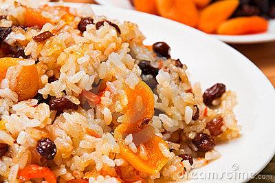 Pilaf made of rice, carrots, dried fruits