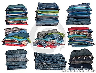 Pilas de la ropa