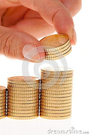 Pilas de monedas euro