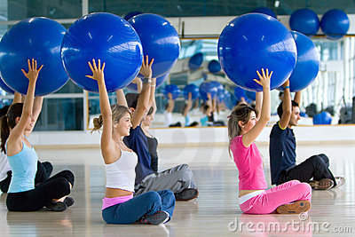 Pilates Class At The Gym Stock Image - Image: 12835831