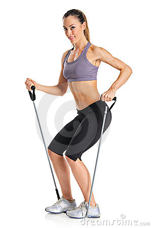 A pilates instructor with exercise bands
