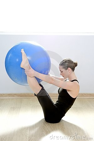 Free Pilates Woman Stability Ball Gym Fitness Yoga Stock Photo - 18933280
