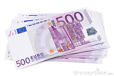 Pile of 500 euro banknotes