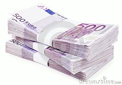 Pile of 500 Euros