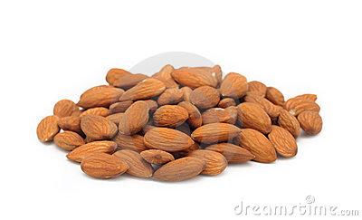 Pile of almonds, isolated