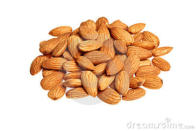 Pile of almonds isolated