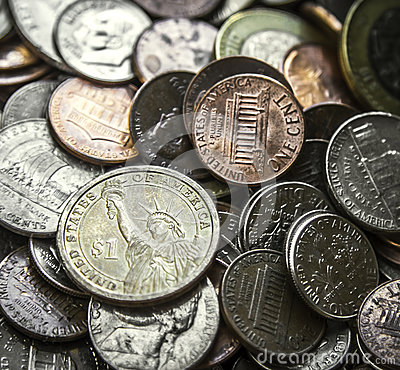 Pile of American Coins US Money One Dollar Coin