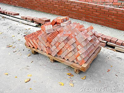 Pile of the baked bricks
