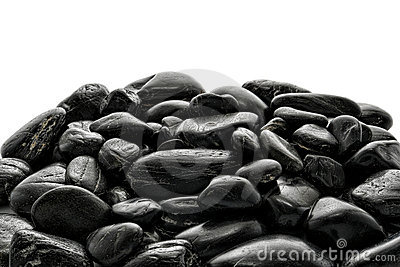 Pile of Black Polished River Stones
