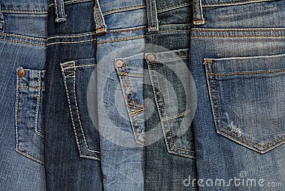 It is a close up of jeanss pile.