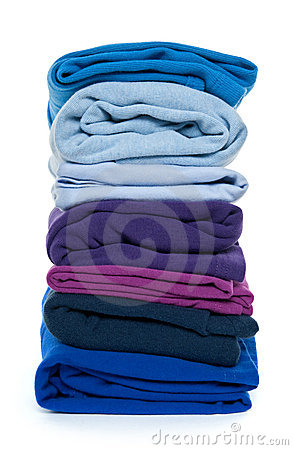 Pile of blue and purple folded clothes