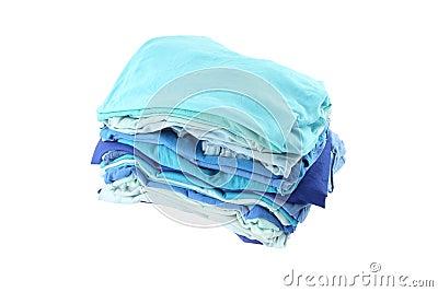 Pile of blue shade cloths